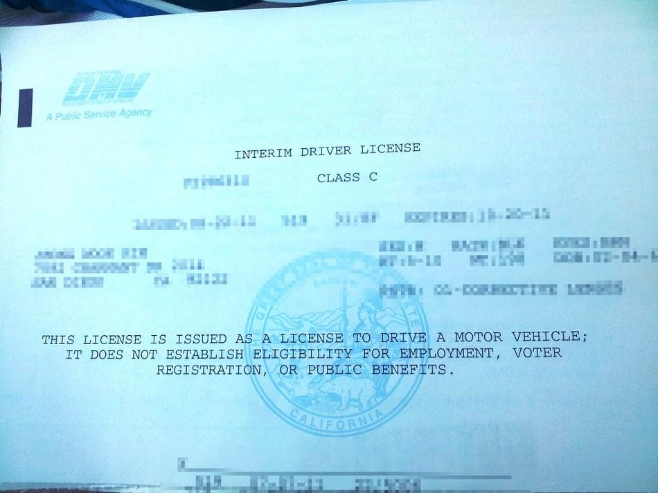 California Dmv Interim Driver S License Loppeper198417