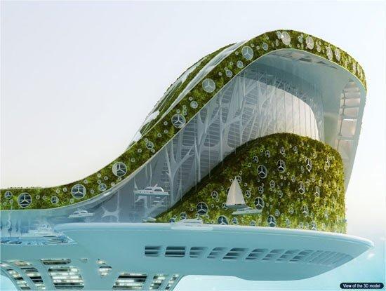 미래의 5만 명 거주 '수상 도시'