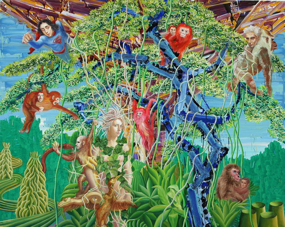 Monkey tree in bricolage forest 227x181cm oil on canvas