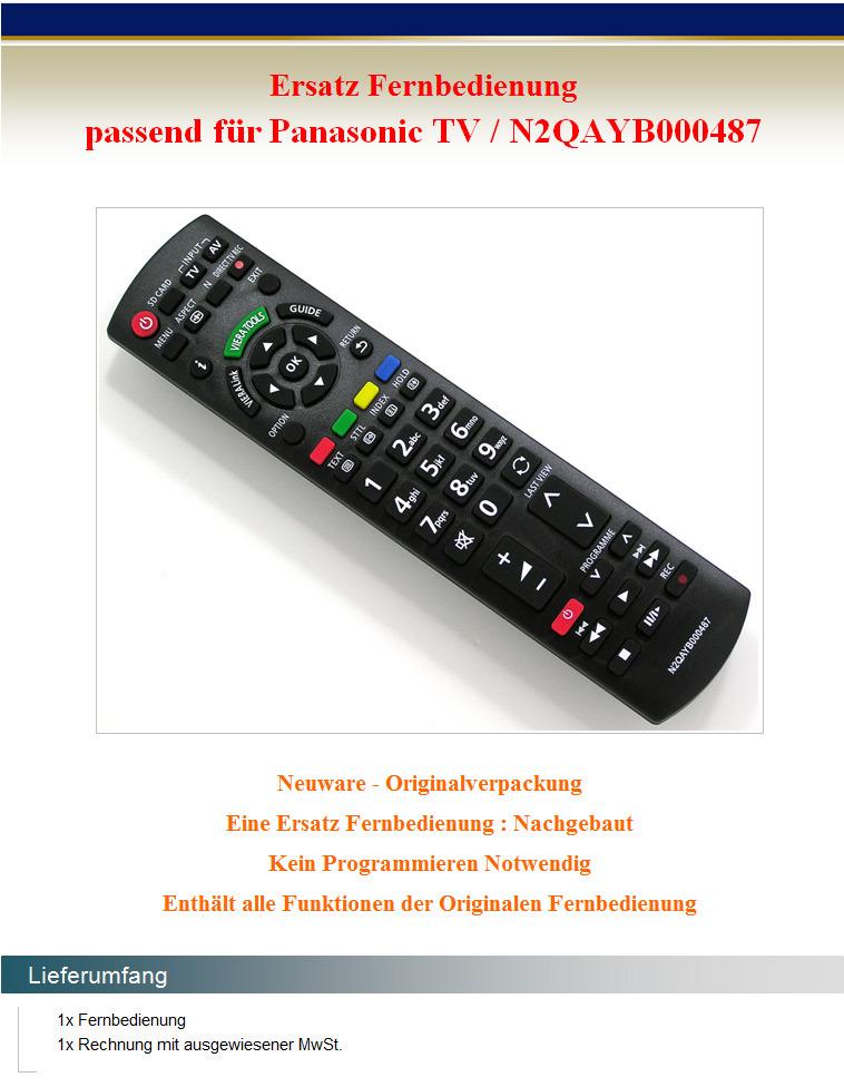 Ersatz Fernbedienung für Panasonic N2QAYB000487 Fernseher ...