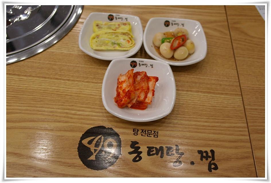 기본 반찬(배추김치, 계란말이, 메추리알)