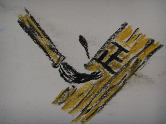 ▷◁최근에 도화지 위에 크레파스로 그린 그림들