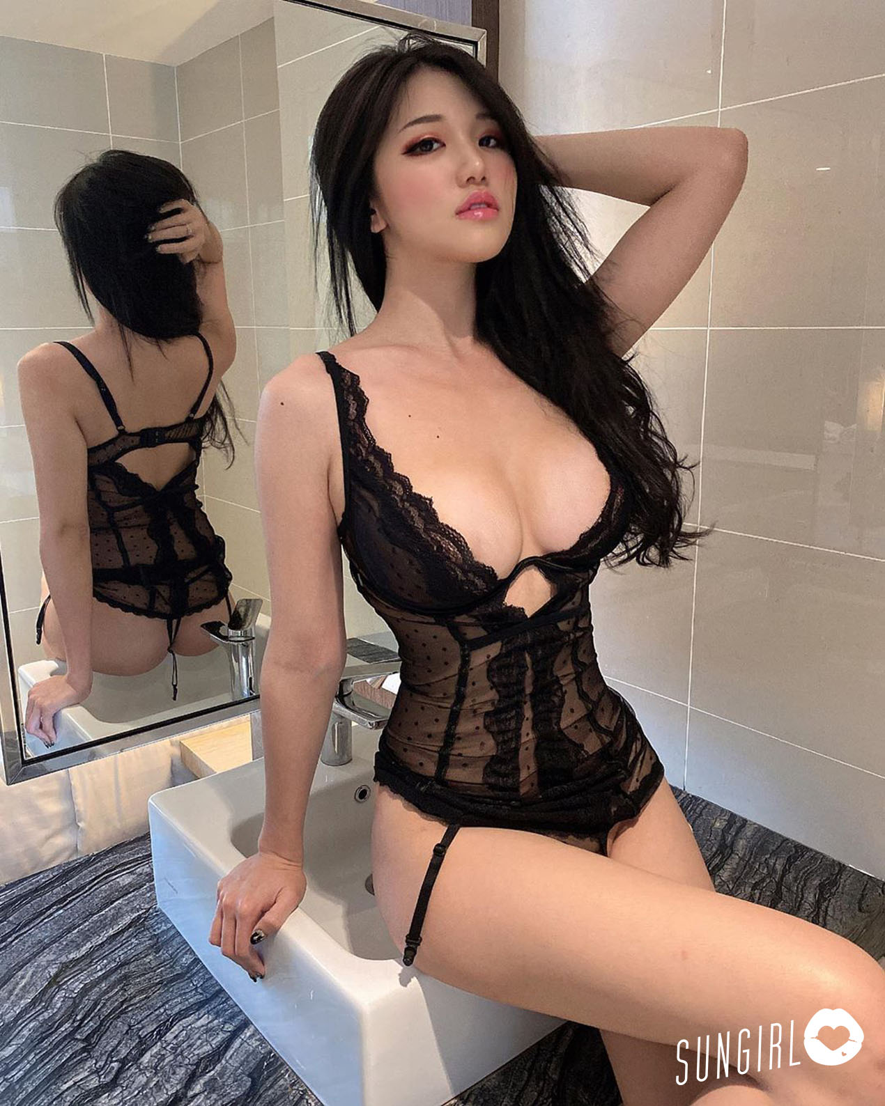 hot Chinese girl wearing sexy lingerie
