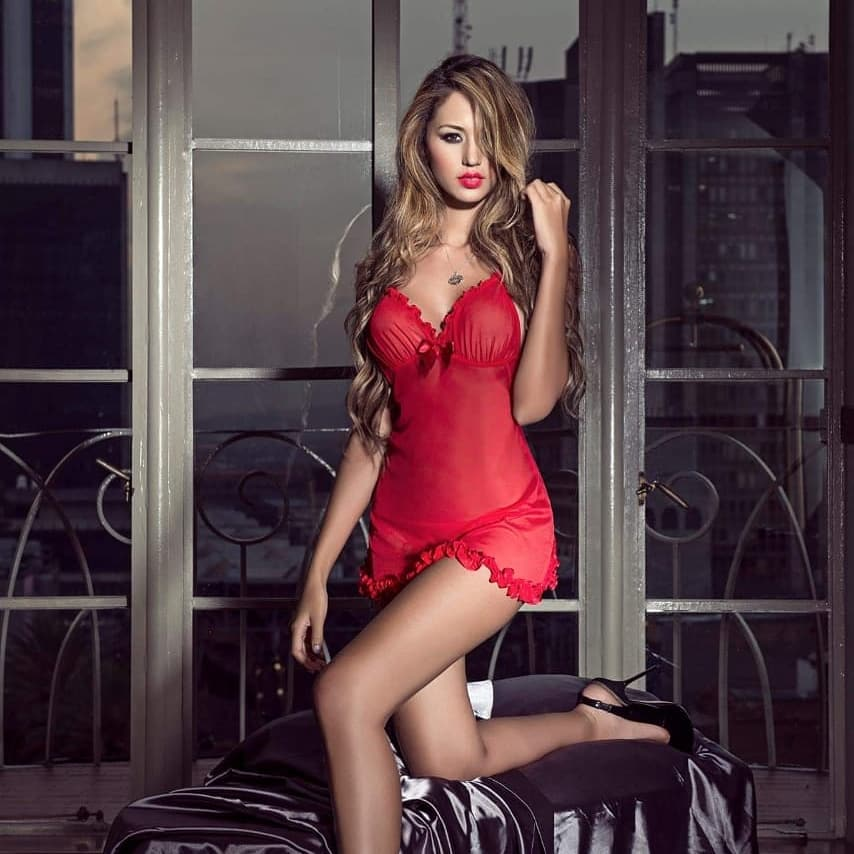 hot red dressed woman