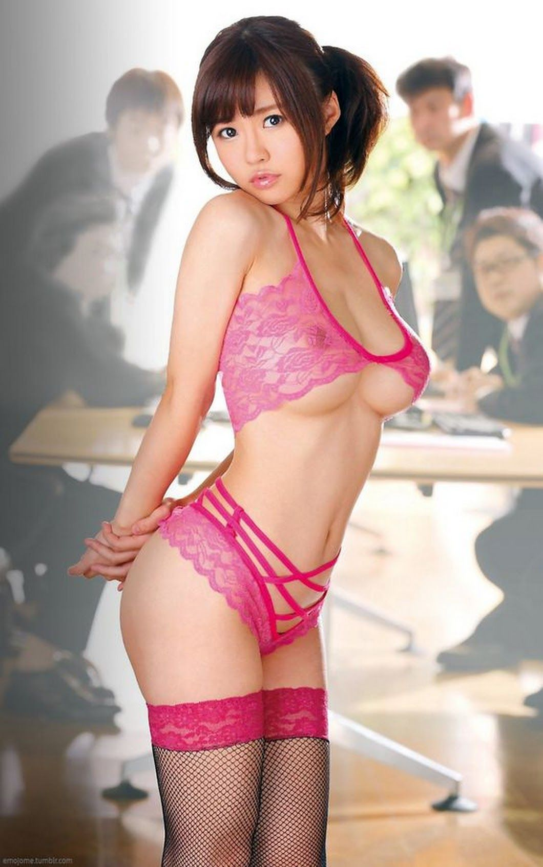 hot Japanese in see through lingerie