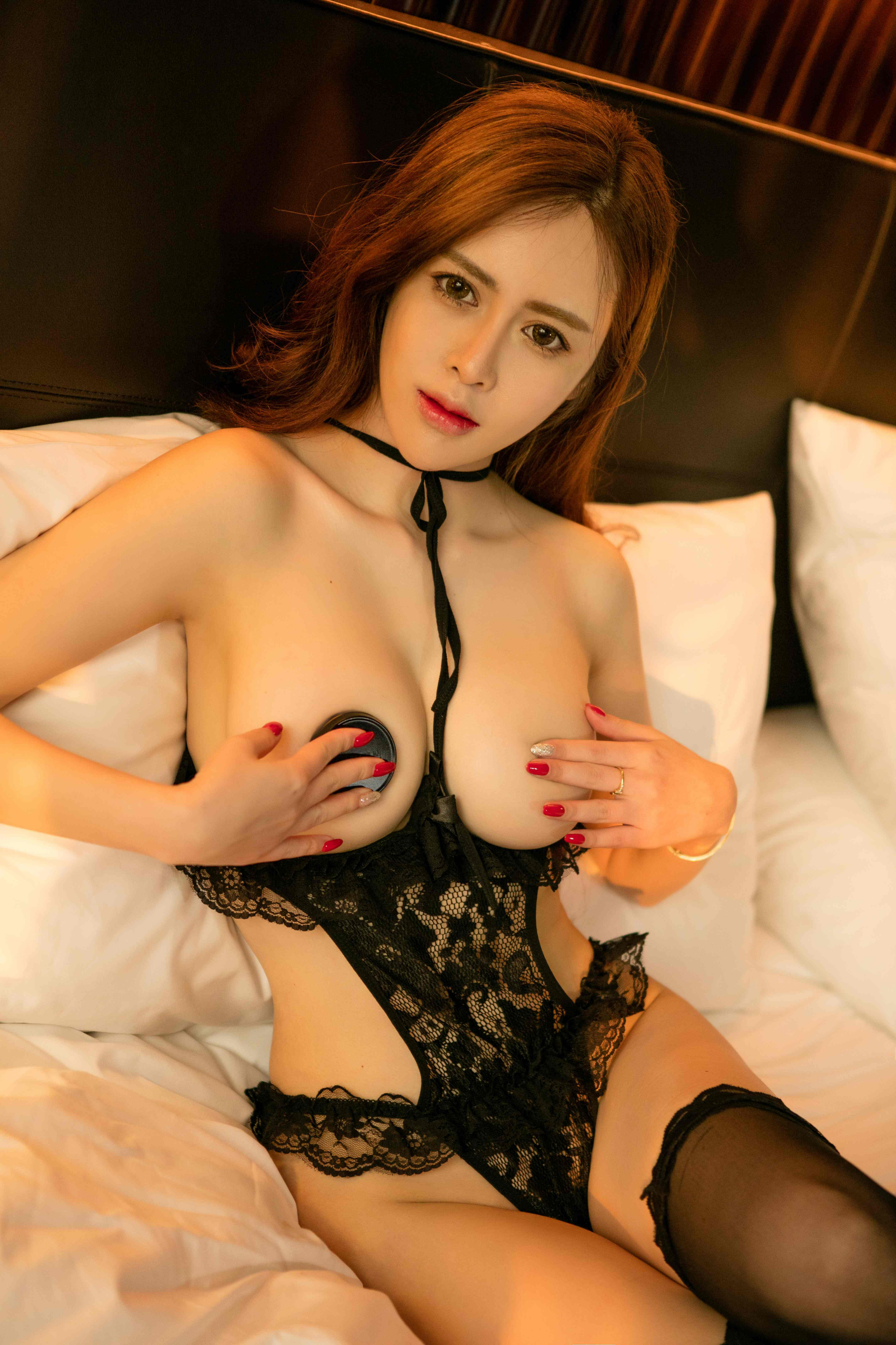 hot Chinese woman in mesh lingerie